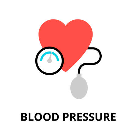 Modern flat editable line design vector illustration, concept of blood pressure icon, for graphic and web design