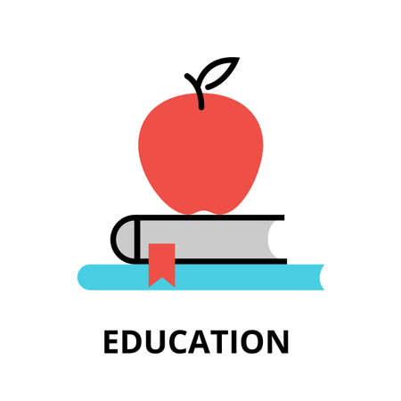 Modern flat thin line design vector illustration, icon of education process, learning in educational institution and items of study equipment, for graphic and web design Stok Fotoğraf - 69824302
