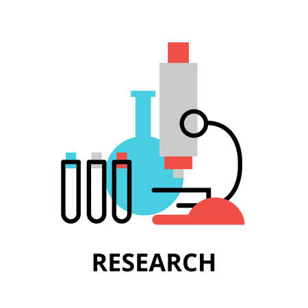 Research icon, flat thin line vector illustration, for graphic and web design