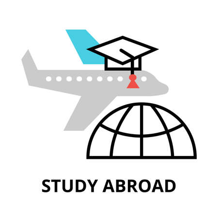 Study abroad icon, flat thin line vector illustration, for graphic and web design