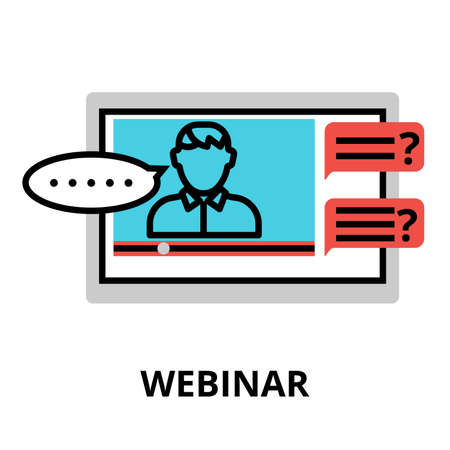 webinar icon flat thin line vector illustration for graphic