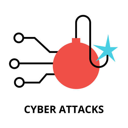 cyber attacks: Modern flat design vector illustration, cyber attacks icon, for graphic and web design