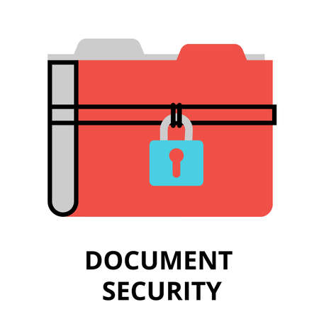 authentification: Modern flat design vector illustration, document security icon, for graphic and web design