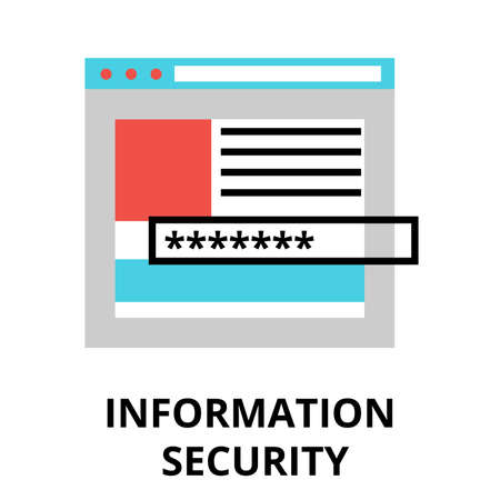 authentification: Modern flat design vector illustration, information security icon, for graphic and web design