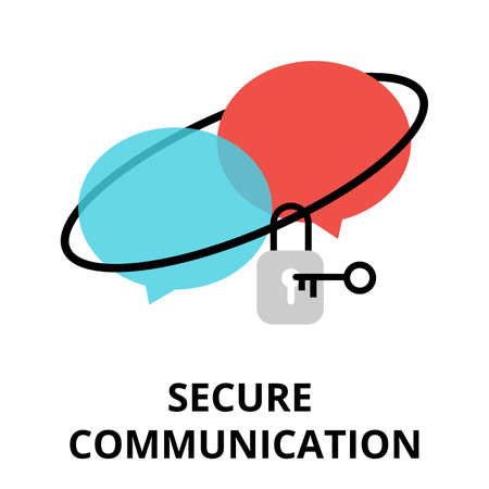 Modern flat design vector illustration, secure communication icon, for graphic and web design