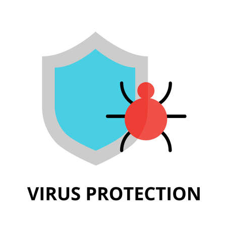 authentification: Modern flat design vector illustration, virus protection icon, for graphic and web design Illustration