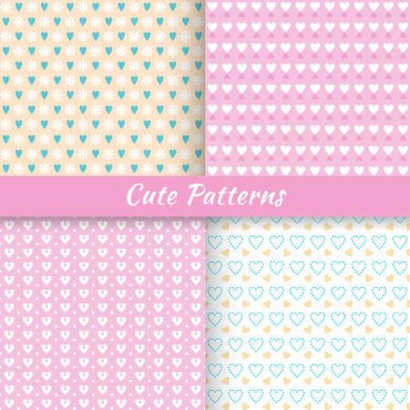 Set of cute patterns, illustration, for web and graphic design Illustration