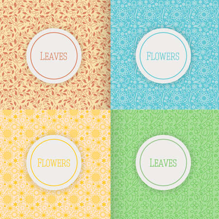 Set of patterns with flowers and leaves, illustration, for web and graphic design