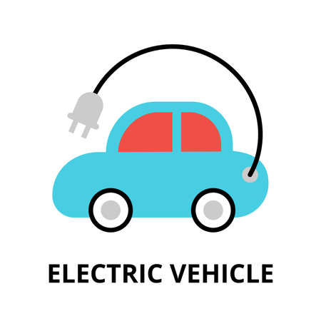 Modern flat editable vector line icon of future technology - electric vehicle, for graphic and web design Illustration
