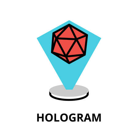 augmentation: Modern flat editable vector line icon of future technology - hologram, for graphic and web design