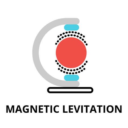 plana icono moderno línea vectorial editable de la tecnología del futuro - la levitación magnética, para el diseño gráfico y web