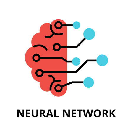 augmentation: Modern flat editable vector line icon of future technology - neural network, for graphic and web design