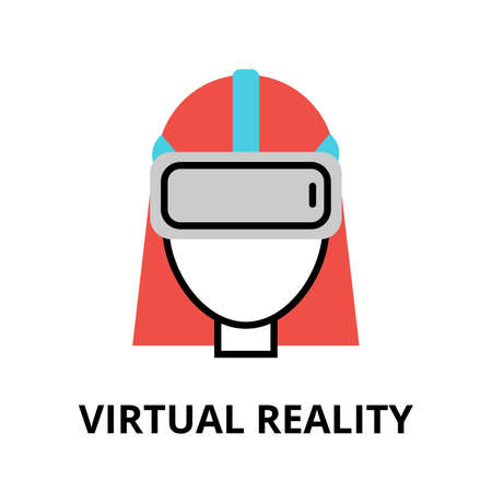 augmentation: Modern flat editable vector line icon of future technology - virtual reality, for graphic and web design Illustration