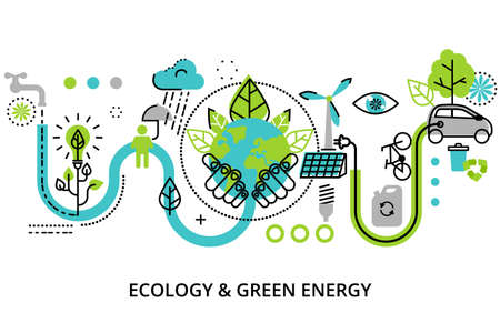 Modern flat thin line design illustration, infographic concept of ecology problem, green energy and alternative fuel, for graphic and web design. Çizim