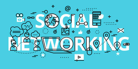 Modern flat thin line design vector illustration, concept of social networking, for graphic and web design