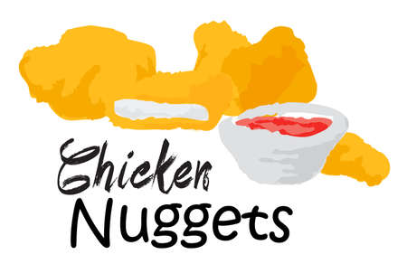 Chicken Nuggets. Vector illustration in watercolor style, for graphic and web design Illustration