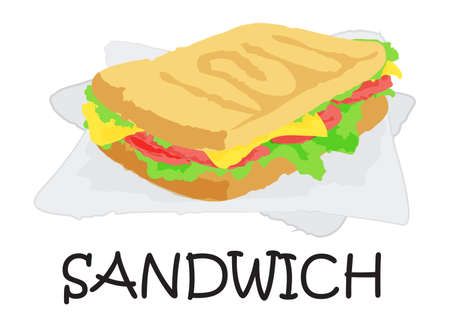 sesame: Sandwich sticker. Vector illustration in watercolor style, for graphic and web design