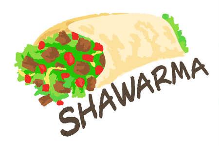 Naklejki Shawarma. Ilustracja wektora w stylu akwarela, dla projektu graficznego i sieci web