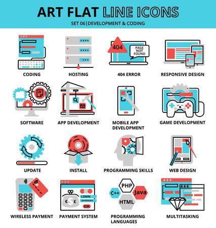 Illustration vectorielle moderne plat modifiable ligne design, ensemble d'icônes de développement et de codage, pour la conception graphique et web