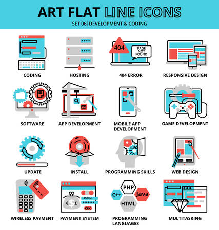 Modern flat editable line design vector illustration, set of development and coding icons, for graphic and web design