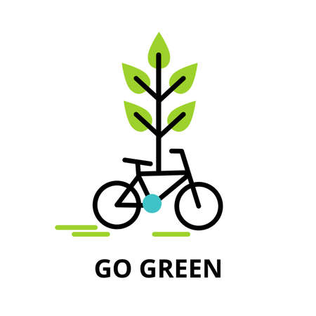 Modern flat thin line design icon, vector illustration, infographic concept of go green, saving nature and alternative energy  for graphic and web design Çizim