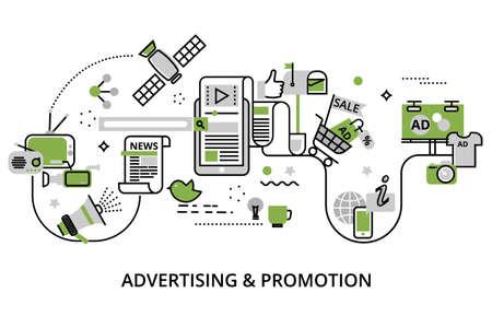 Moderna línea plana delgada ilustración vectorial de diseño, concepto de publicidad, marketing y proceso de promoción, en color verde para diseño gráfico y web Foto de archivo - 80999018