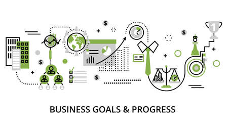 Modern editable line design vector illustration, concept of modern business goals and progress in greenery color, for graphic and web design Vetores