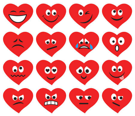 Set of emoticons and emojis in red heart form. Vector illustration in flat style on white background Çizim