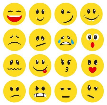 Set of yellow emoticons and emojis. Vector illustration in flat style on white background