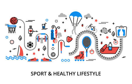 Modern flat editable line design vector illustration, concept of sport and healthy lifestyle - healthcare, for graphic and web design Illustration