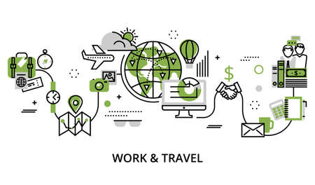 Modern editable line design vector illustration, concept of work and travel in greenery color, for graphic and web design