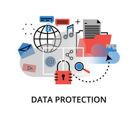 ddos: Modern flat thin line design vector illustration, infographic concept of internet security, network protection and secure online payments for graphic and web design