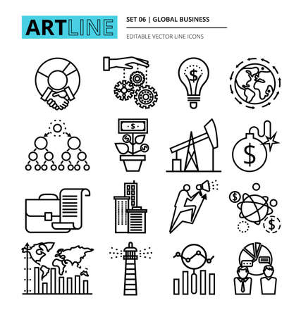 Modern thin line design vector illustration, icons set of global business process and finance success in the world, for graphic and web design