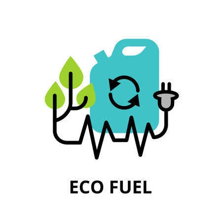 camion de basura: Modern flat line design icon, concept of Eco fuel, technologies of future and green energy for graphic and web design Vectores