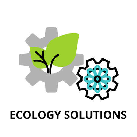 Modern flat thin line design icon, vector illustration, infographic concept of ecology solutions, saving nature and alternative energy  for graphic and web design