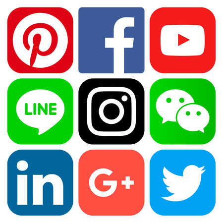 June 15, 2017: Popular social media icons: Facebook, Twitter, Google Plus, Instagram, Pinterest, LinkedIn, Wechat, Line and Youtube Editorial