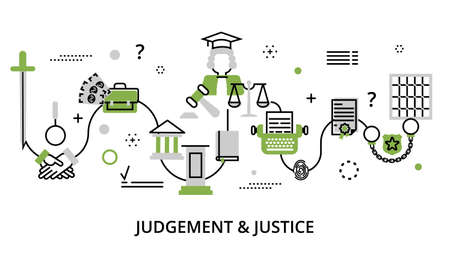 Modern flat thin line design vector illustration, greenery concept of judgment process, protection of human rights and ordinances of justice, for graphic and web design