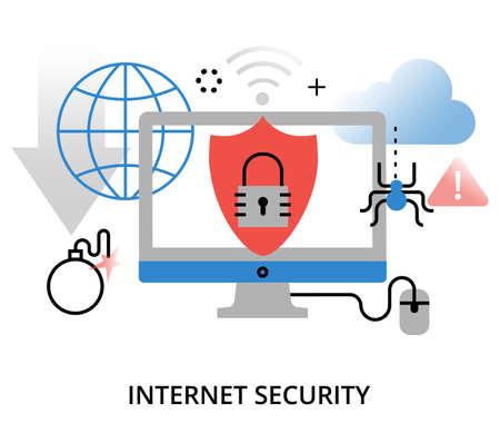 현대 평면 얇은 라인 디자인 벡터 일러스트 레이 션, 인터넷 보안 및 그래픽, 웹 디자인을위한 네트워크 보호의 infographic 개념 일러스트