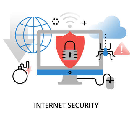 Modern flat thin line design vector illustration, infographic concept of internet security and network protection, for graphic and web design