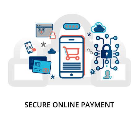 Modern flat design vector illustration, secure online payment concept, for graphic and web design