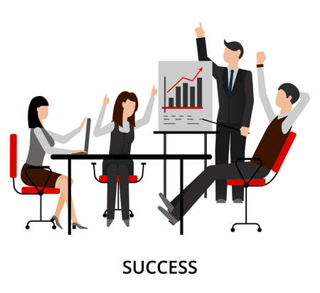 ceo office: Modern flat design vector illustration, concept of business success, for graphic and web design