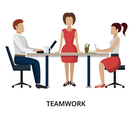 techology: Modern flat design vector illustration, concepts of teamwork process and success in business, for graphic and web design