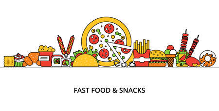 sandwitch: Modern flat thin line design vector illustration, concept of unhealthy fast food and snacks, for graphic and web design
