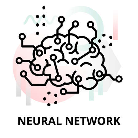 Abstract icon of future technology - neural network on color geometric shapes background, for graphic and web design