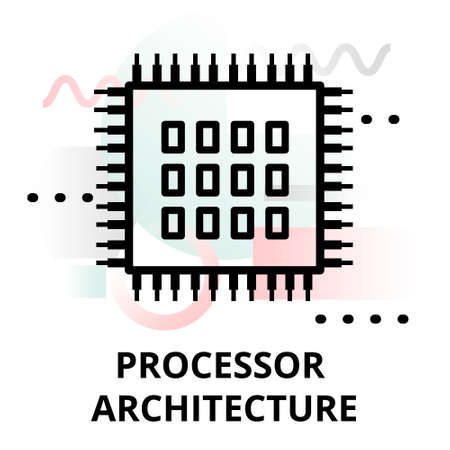 Abstract icon of future technology - processor architecture on color geometric shapes background, for graphic and web design