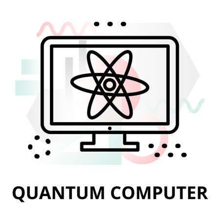 augmentation: Abstract icon of future technology - quantum computer on color geometric shapes background, for graphic and web design