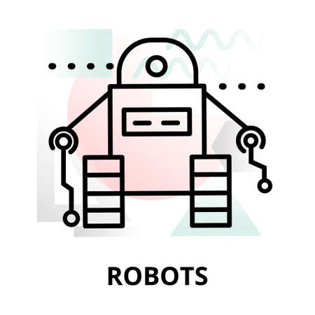 augmentation: Abstract icon of future technology - robots on color geometric shapes background, for graphic and web design