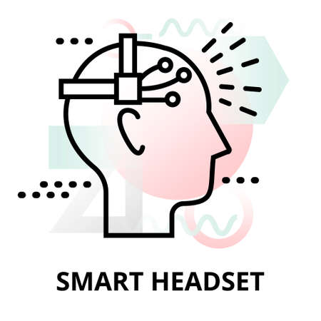 Abstract icon of future technology - smart headset on color geometric shapes background, for graphic and web design