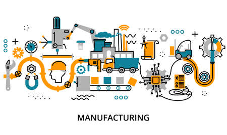 Modern flat editable line design vector illustration, concept of manufacturing process, for graphic and web design