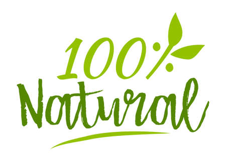 Natural 100% sticker, vector illustration for graphic and web design